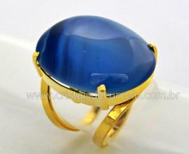 Anel Agata Azul Cabochão Oval Pedra Natural Montagem Banho Flash Dourado Aro Ajustavel