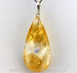 Pingente Gota Pedra Natural Citrino Amarelo Prata 950 Pino e Perinha