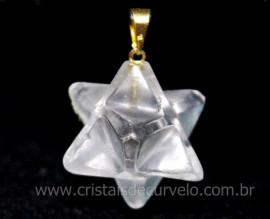 Merkaba Pingente Pedra Cristal Extra Presilha Banho Dourado