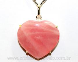 Pingente Coração Quartzo Rosa Prata 950 Garra REFF CP2813