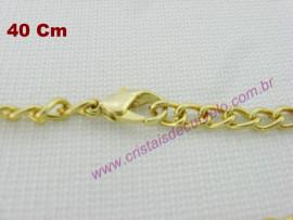 Cordão ou Correntinha para Pingente Fecho e Corrente Banho Flasch Dourado 40cm