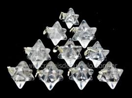 50 Merkaba Pingente Pedra Cristal Extra Presilha Banho Prateado