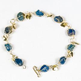 05 Pulseira do Amor Pedra Agata Azul Gaiola Dourado ATACADO