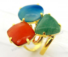 Anel 3 Pedras Misto Cabochao Aro Ajustavel Dourado REFF AM1531