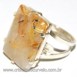 Anel Prata 950 Cristal Rutilo Natural Aro Ajustavel 109912