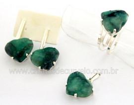 Conjunto Anel Brinco e Pingente Pedra Esmeralda Garra Prata 950 Reff CP6471
