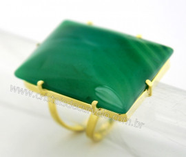 Anel Agata Verde Retangulo Grande Pedra natural de Garimpo Banho Flash Dourado Aro Ajustavel