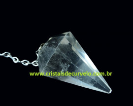 Pendulo CRISTAL COMUM Pedra Natural P Radiestesia Lapidação Facetado Brinde Corrente