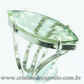 Anel Gema Prasiolita Verde Facetada Prata 950 Ajustavel 112421
