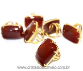 Anel Ágata Cornalina Retangular Dourado Ajustável Reff 110769