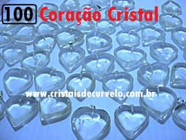 100 Coração CRISTAL Pedra Quartzo Pingente Banhado Prata