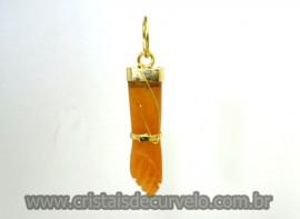 Figa Pingente Mineral Quartzo Tangerina Banho Ouro Flash Amuleto da Sorte