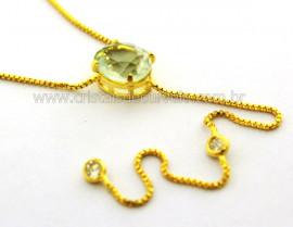 Colar Gravata Pedra Prasiolita Gema Natural Dourado Reff CG3105