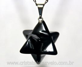 Merkaba Pingente Pedra Obsidiana Preta Lapidação Manual com Presilha Prateado