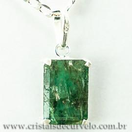 Pingente Esmeralda Facetado Berilo Prata 950 Garra 112451