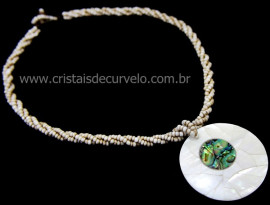 Maxi Colar com Pingente Mandala de Abalone Cod 110755