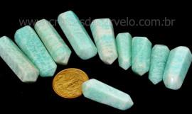 10 Bi Terminado AMAZONITA Pedra Extra Lapidado Bi Ponta Tamanho 2.5  Cm