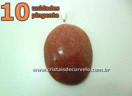 10 Pingente Cabochão QUARTZO VERMELHO Pedra Natural Castoação Pino Banho Prata