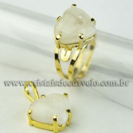 Conjunto Anel e Pingente Coração Pedra Quartzo Leitoso Dourado