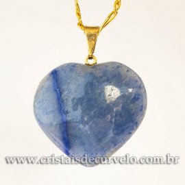 Pingente CORAÇÃO Pedra Quartzo Azul Natural Montagem  Flash Dourado