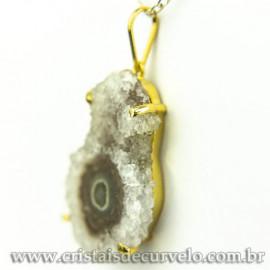 Pingente Flor de Ametista Pedra Natural Garra Dourado 120610