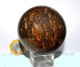 Esfera Bronzita Pedra Natural Mineral de Rocha Lapidado Manual cod 517.7