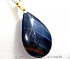Pingente Gota OLHO DE FALCAO Pedra Natural Montagem Pino Dourado