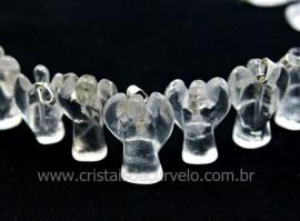 10 Anjinho Pingente Pedra Quartzo Cristal Pino Prateado AP1495