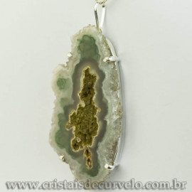 Pingente Flor de Ametista Pedra Natural Garra Prateado120613