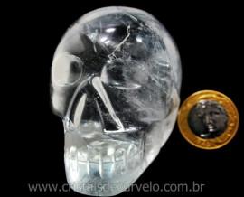 Crânio Quartzo Cristal Pedra Lapidado Artesanal Cod CC4309