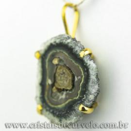 Pingente Flor de Ametista Pedra Natural Garra Dourado 120611