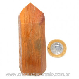 Ponta Jaspe Amarelo Natural Gerador Sextavado Cod 119327