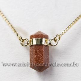 Colar Pedra do Sol Micro Bi Ponta Sextavado Envolto Dourado