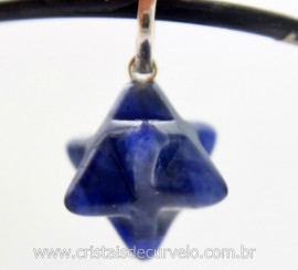 Merkaba Pedra Sodalita Azul Extra Pingente Argola Pino Prata 950