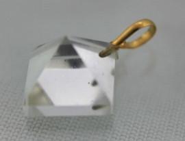 Pingente PIRAMIDE Ouro 18 Ct Pedra Cristal Extra Lapidação Facetado Manual
