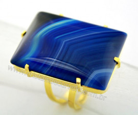 Anel Agata Azul Retangulo Grande Pedra natural de Garimpo Banho Flash Dourado Aro Ajustavel