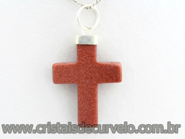 Crucifixo Pedra do Sol Pingente Cruz Banho Flash Prateado ENVOLTO