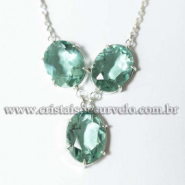 Conjunto Maxxi colar Obsidiana Verde 3 Pedras Prata 950 125215