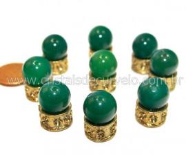 3 Bolinha Pedra Agata Verde Natural 14mm Sem Furo REFF BS5250