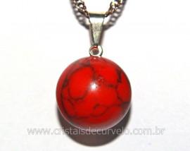 Pingente Bolinha Pedra Howlita Vermelha Pino Prateado Reff PB5179