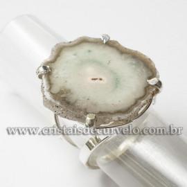Anel Flor de Ametista Natural Prateado Aro Ajustável 120962
