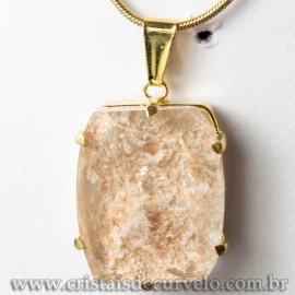Pingente Pedra Cristal Lodolita Baguette Garra Dourada 112938