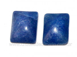 Par Retangulo Quartzo Azul Pedra Natural Pra Brinco Reff RB4326