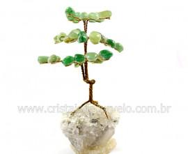 Árvore Felicidade Pedra Quartzo Verde na Drusa REFF AD4849