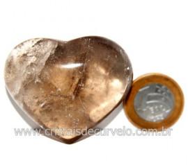 Coraçao Pedra Quartzo Fume com Esfumaçado Natural Cod 123868