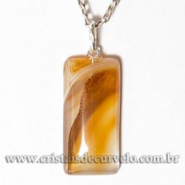 Pingente Retângulo Agata Cornalina 32mm Pedra Natural Prata 950