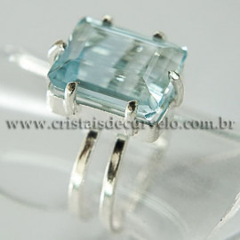 Anel Pedra Topazio Azul Facetado Prata 950 Ajustavel 112448