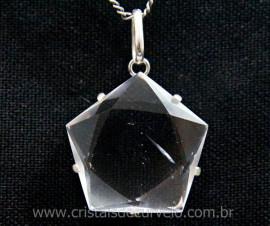 Pentagrama Pingente Pedra Cristal Montagem na Garra Prata 950