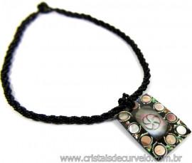 Maxi Colar Retângulo de Abalone Peça Exclusiva Cod 110753