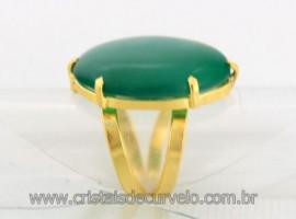 Anel Agata Verde Cabochão Oval Pedra Natural Banho Flash Dourado Aro Ajustavel